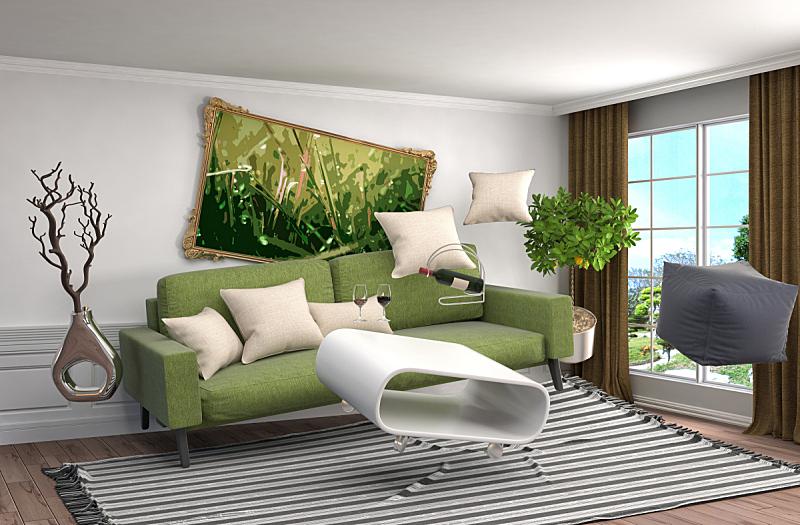 家具,三维图形,绘画插图,起居室,水平画幅,形状,墙,无人,灯,反差