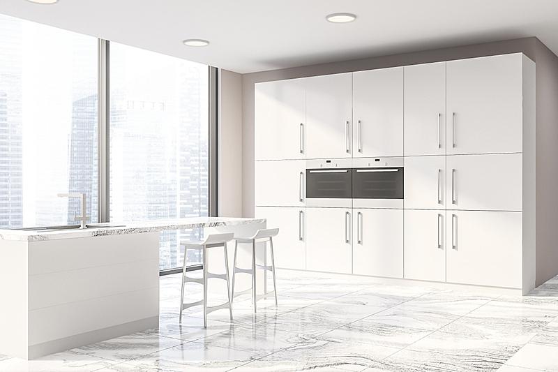 厨房,全景,米色,角落,吧椅,空的,华贵,舒服,椅子,水槽