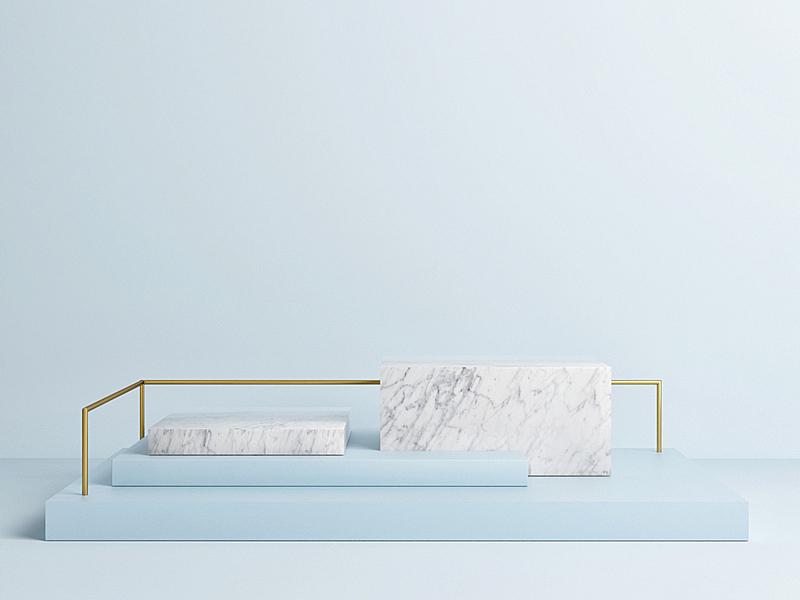 抽象,正下方视角,蓝色背景,轻蔑的,概念,指挥台,空的,几何形状,竞技场,地板
