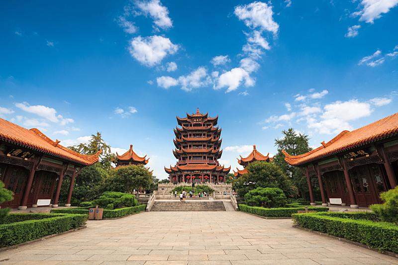 黄鹤楼,天空,褐色,水平画幅,山,无人,户外,亭台楼阁,著名景点,中国