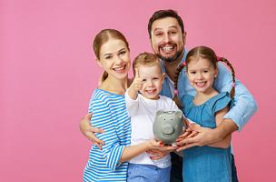 家庭,母亲,父亲,猪,儿童,幸福,粉色,金融,女儿,父母