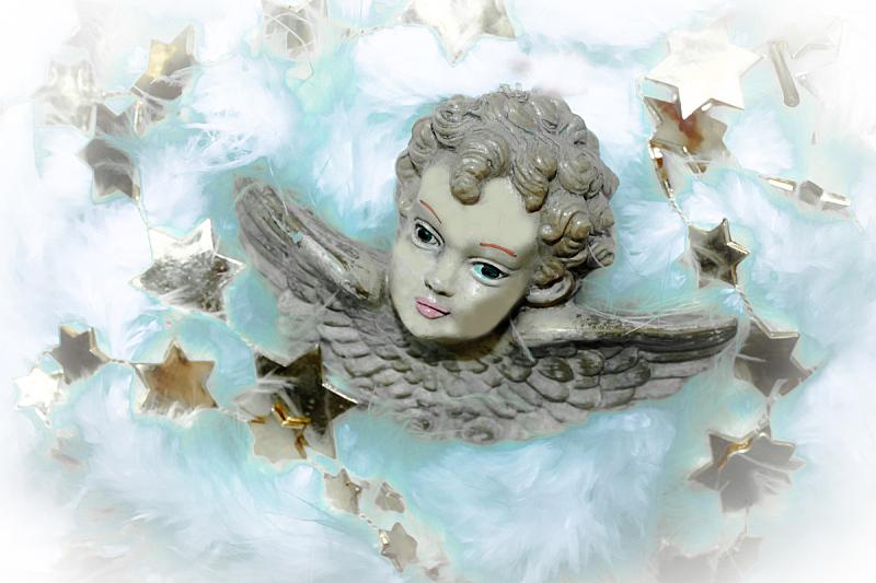 天使,天空,灵性,水平画幅,蓝色,人的脸部,星形