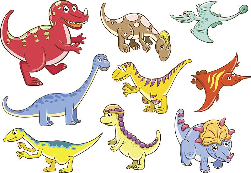 可爱的,恐龙,自然,绘画插图,性格,面部表情,背景分离,卡通,幼小动物,已灭绝生物