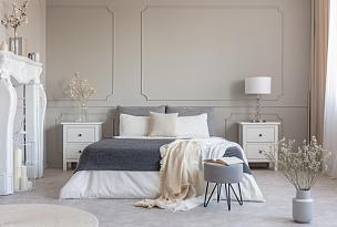 华贵,木制,白色,室内,桌子,卧室,双人床,比例,舒服,灰色