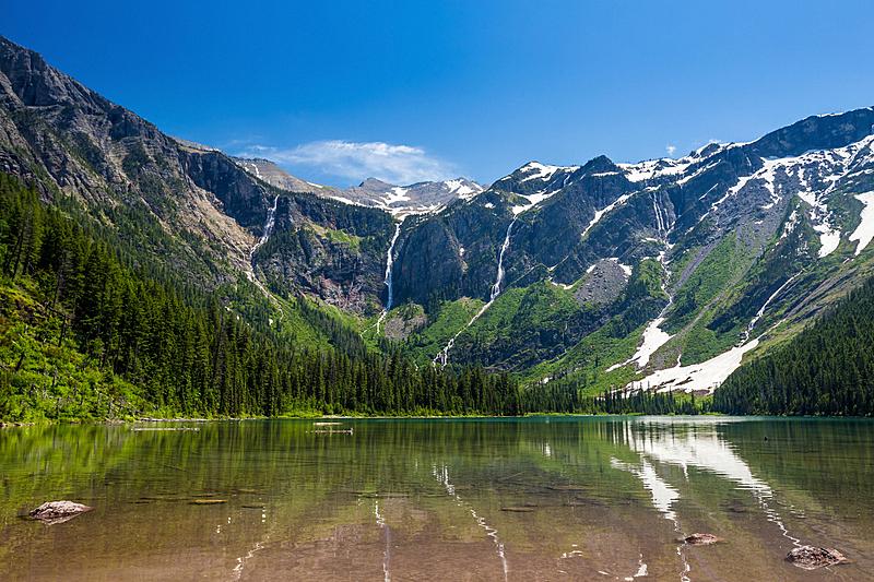 雪崩,湖,山,风景,蒙太奇,阿根廷冰川国家公园,蒙大拿州,水平画幅,瀑布,无人