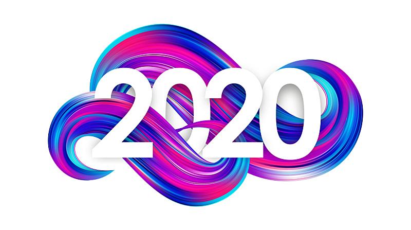2020,新年前夕,涂料,背景,式样,数字,抽象,形状,多色的,爱抚