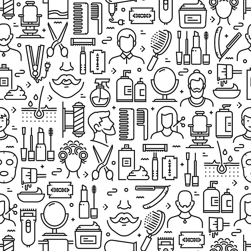 线条,理发店,四方连续纹样,背景,计算机图标,家庭,剪头发,绘画插图,理发师,爱抚