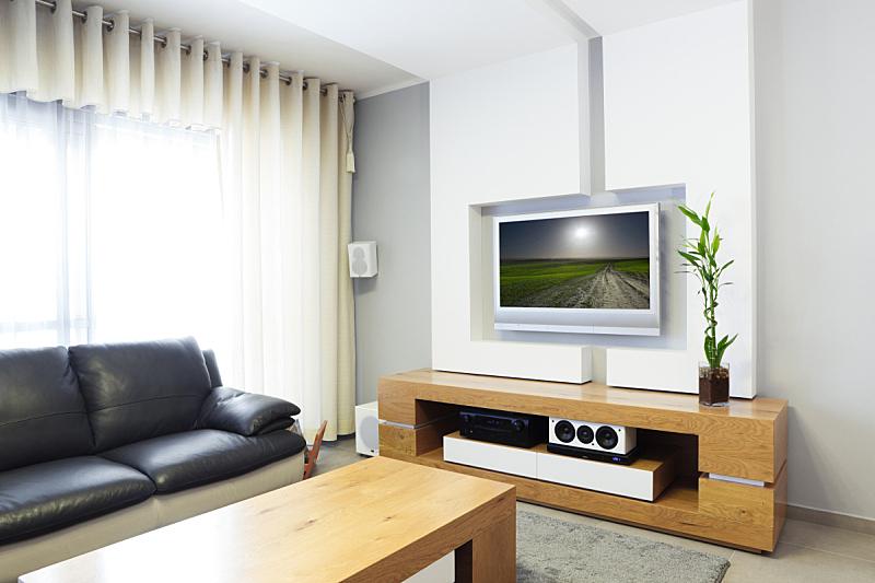 现代,起居室,室内,低音炮,家居开发,茶几,百叶帘,华贵,环绕立体声,地板