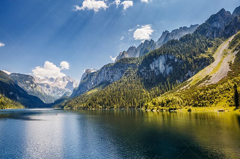 湖,非凡的,阿尔卑斯山脉,蓝色,戈绍,度假胜地,居住区,山谷,上奥地利州,旅途