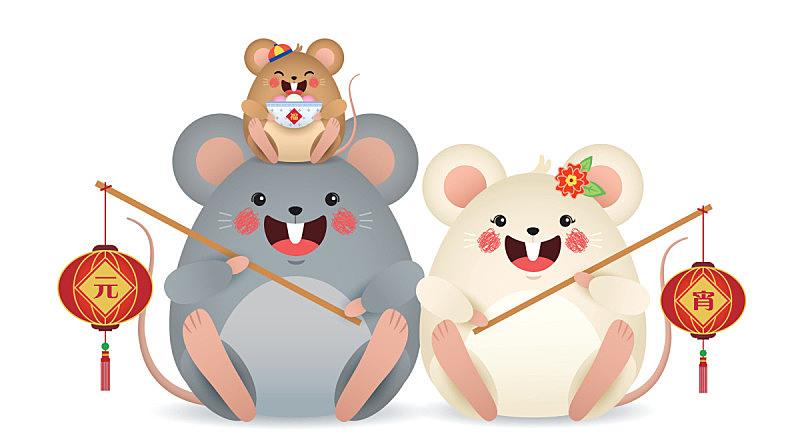 灯笼,家庭,拿着,中国元宵节,鼠,鼠年,卡通,汤,扁圆形甜南瓜,箫