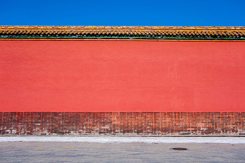 墙,故宫,红色,天空,古董,水平画幅,砖墙,古典式,早晨,东亚