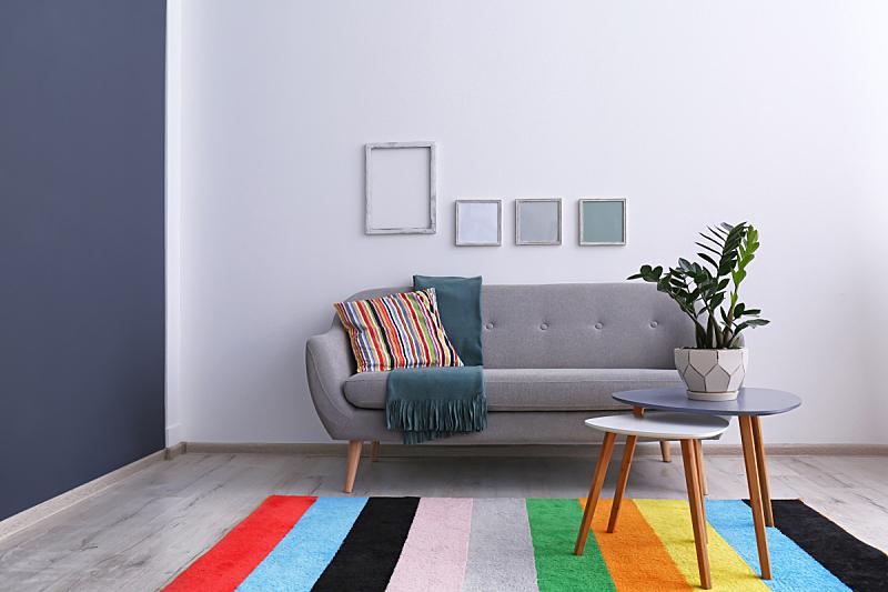高雅,舒服,沙发,住宅内部,彩虹,起居室,无人,乌克兰,图像,水平画幅