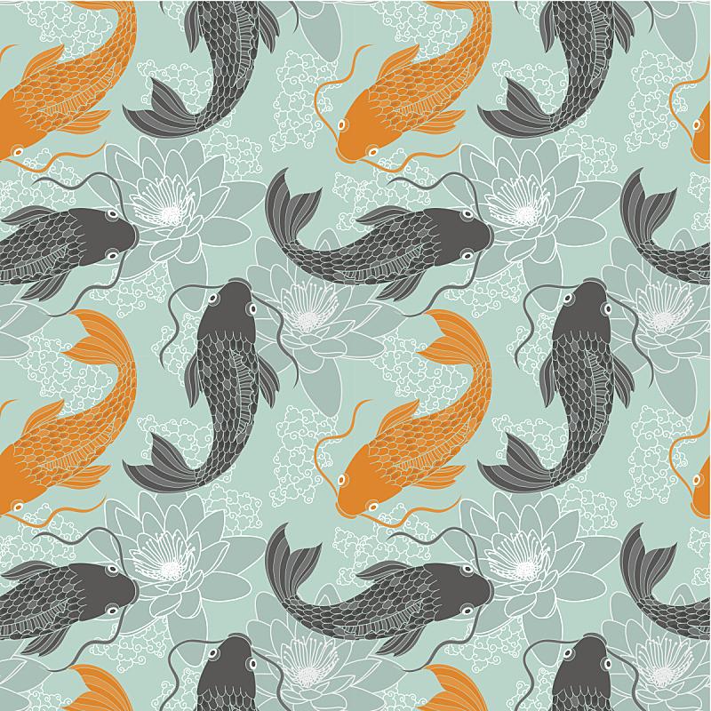 鲤鱼,四方连续纹样,锦鲤,日本,水,美,艺术,荷花,睡莲,绘画插图