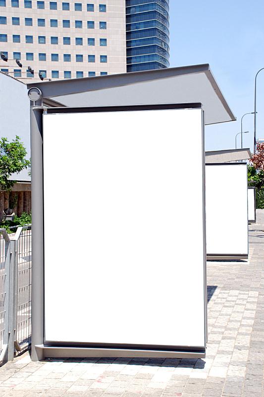 标志,空白的,白色,公车站,巴士站的海报,公共汽车站,垂直画幅,消息,户外,市场营销