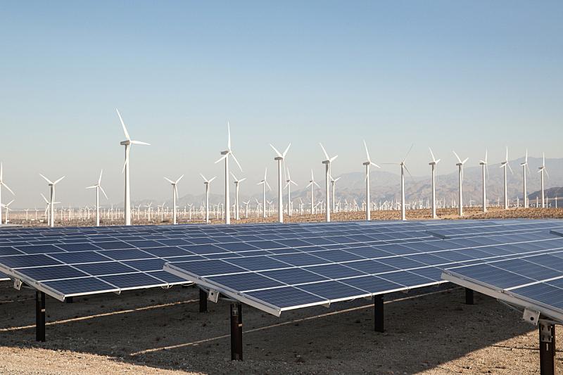 太阳能,风轮机,循环利用,太阳能发电站,棕榈叶沙漠,可再生能源,棕榈泉,太阳能电池板,风力,美国式的风车