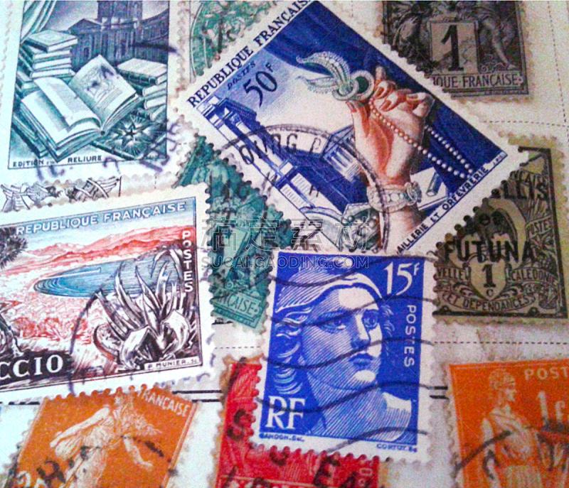 邮票,水平画幅,橙色,邮件,无人,蓝色,法国,摄影