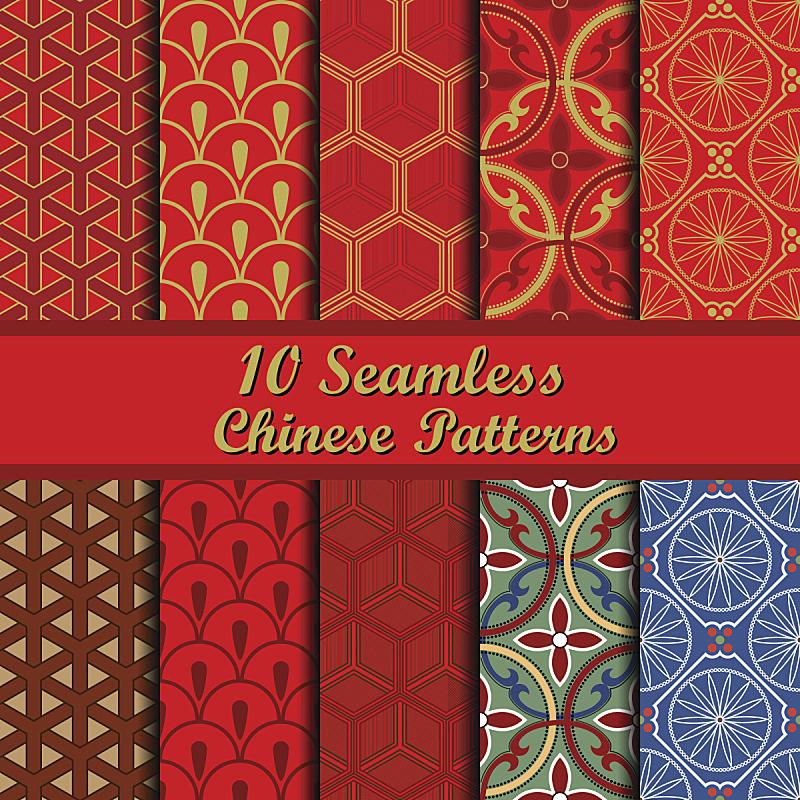 式样,花纹,中国,日本,红色,金色,四方连续纹样,高雅,新的,纺织品