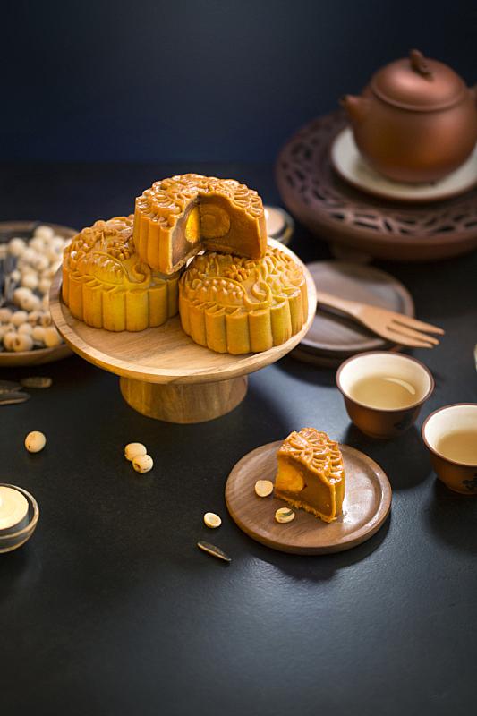 饮食,秋天,传统节日,中间,月饼,中国茶,中秋节,甜食,甜点心,腌制食品