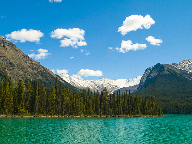 加拿大,湖,自然,干净,山,深的,国内著名景点,班夫,纯净,山脊