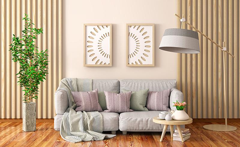 植物,三维图形,茶几,灰色,沙发,起居室,极简构图,室内设计师,木隔板,纺织品