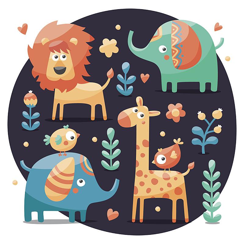 长颈鹿,热带雨林,仅一朵花,狮子,象,叶子,鸟类,动物心脏,植物群,可爱的