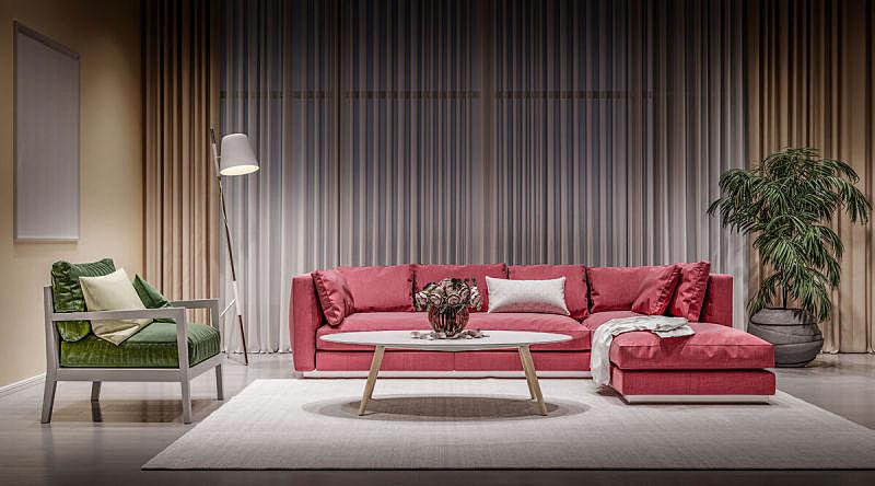 椅子,沙发,现代,起居室,红色,室内,绿色,玫瑰,空的,窗帘