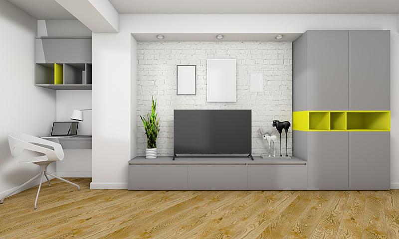 极简构图,起居室,留白,硬木地板,家具,居住区,现代,技术,地板