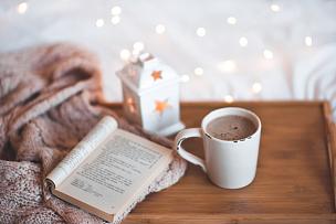 咖啡,水平画幅,纺织品,机织织物,无人,古典式,家庭生活,早晨,时间