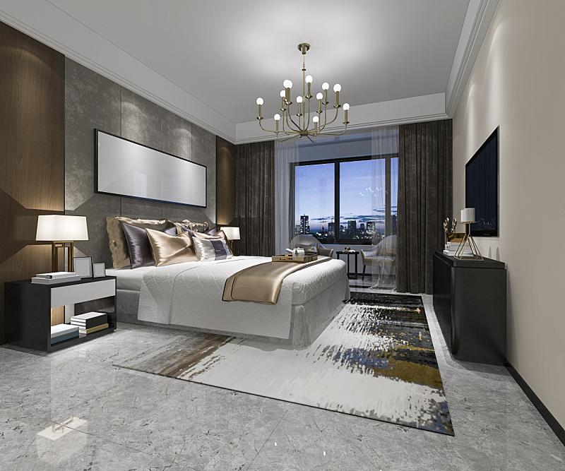 宾馆套房,现代,三维图形,卧室,华贵,酒店,美,水平画幅,无人,椅子