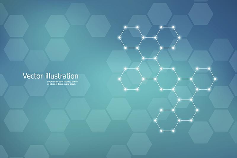绘画插图,矢量,分子,分子结构,六边形,脱氧核糖核酸,神经元,顺序,未来,纳米颗粒