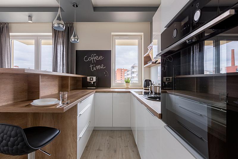 现代,柜子,木制,厨房,新的,水平画幅,无人,椅子,灯,光