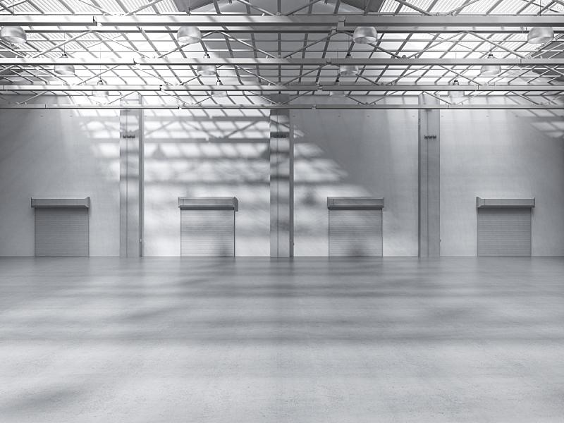 工厂,空的,室内,仓库,水平画幅,工作场所,无人,绘画插图,巨大的,天花板