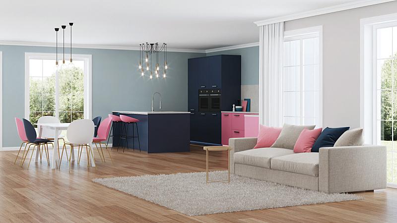 现代,三维图形,房屋,室内,粉色,厨房,水平画幅,无人,椅子,抽油烟机