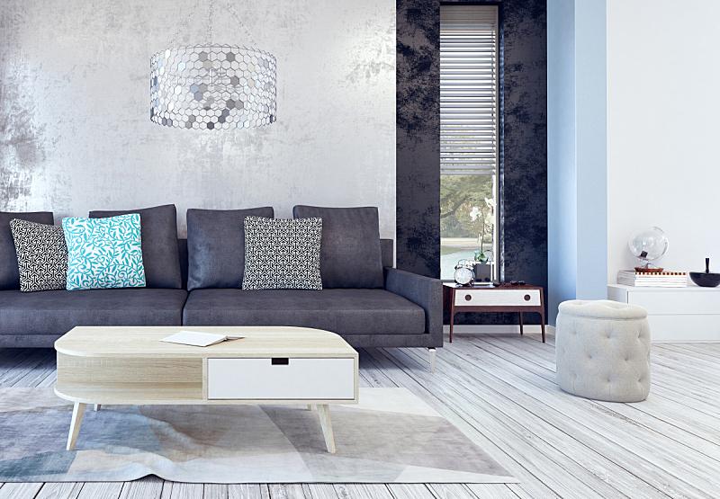 起居室,室内设计师,水平画幅,无人,架子,地毯,灯,家具,钟,明亮