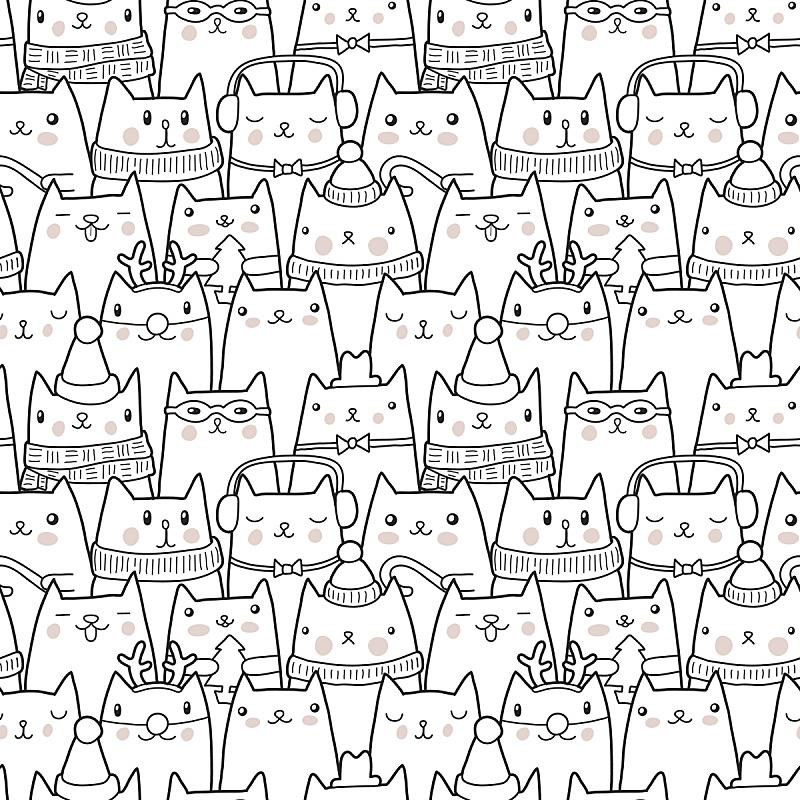 猫,四方连续纹样,单色调,黑白图片,拟人笑脸,绘画插图,艺术品,动物身体部位,计算机制图