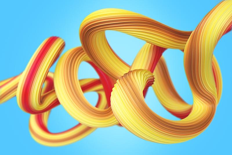 绘画插图,几何形状,金属丝,三维图形,抽象,黄色,背景,品牌标记,未来,艺术
