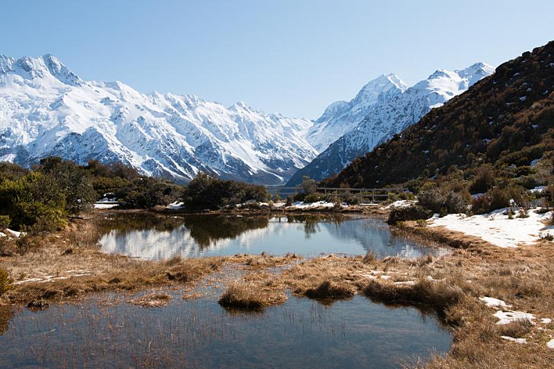湖,山,池塘,红松,库克山,新西兰坎特伯雷地区,主干路,水,水平画幅,雪