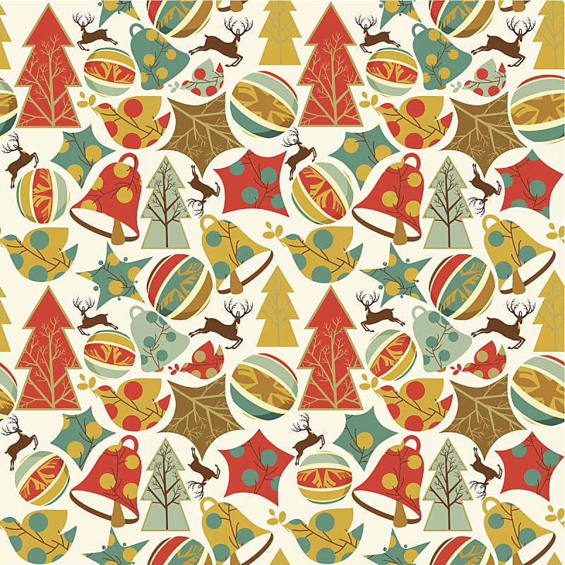 四方连续纹样,节日,圣诞装饰,成组图片,铃,动物斑纹,矢量,背景,驯鹿