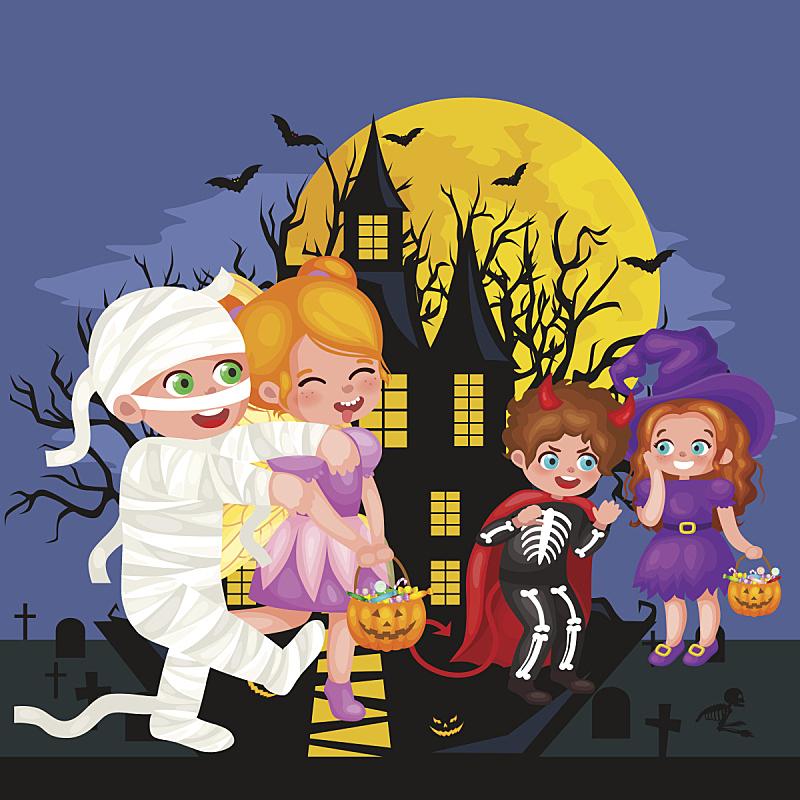 儿童,可爱的,传统服装,分离着色,色彩鲜艳,十月,怪异,木乃伊化的,背景分离