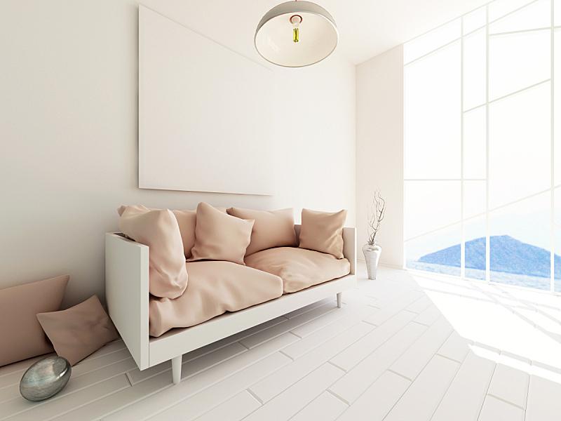 现代,三维图形,室内,留白,绘画插图,计算机制图,计算机图形学,模板,想法,沙发