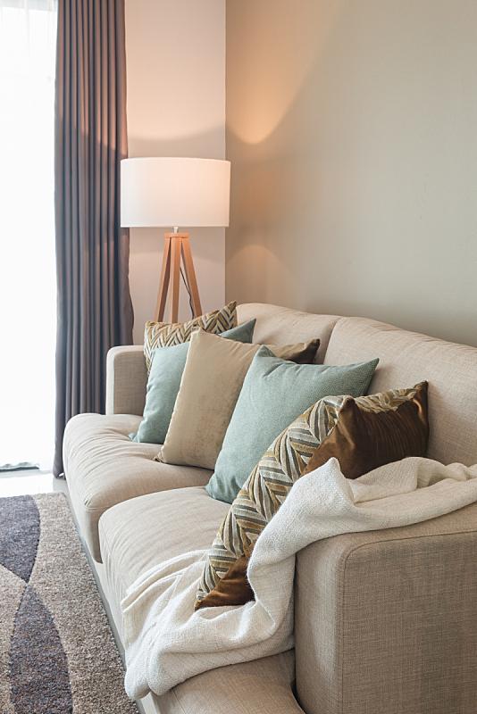 现代,沙发,舒服,枕头,起居室,灯,绿色,木制,四柱床,垂直画幅