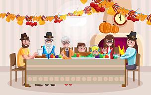 家庭,卡通,白昼,传统,事件,父母,全家福,儿童,绘画插图,乐趣
