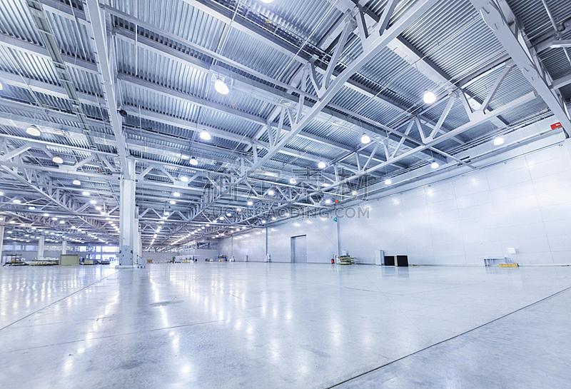 仓库,现代,工业建筑,飞机库,水泥地,正面视角,新的,水平画幅,夜晚,无人
