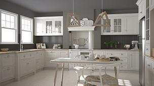 白色,斯堪的纳维亚人,木制,厨房,简单,大特写,极简构图,室内设计师,人字形图案,衣柜