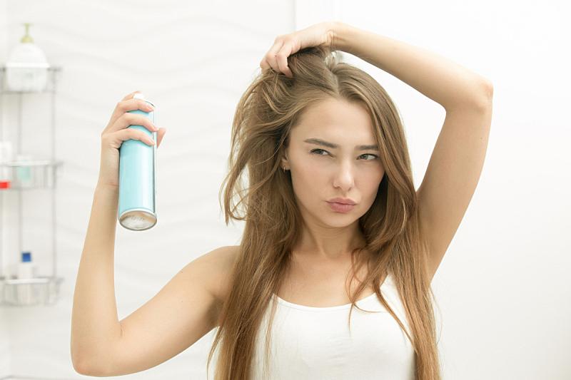 头发,头发定型剂,自然美,女孩,青少年,新的,风,喷雾罐,浴室,彩妆