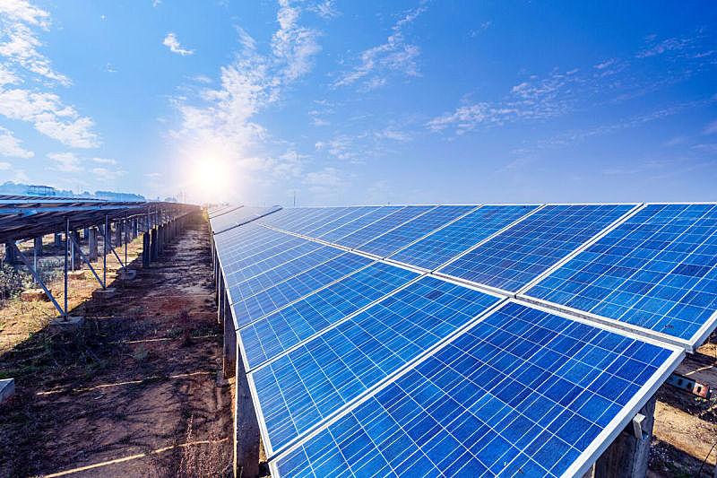 太阳能电池板,电,可持续资源,概念,泉,天空,新的,风,水平画幅,风力