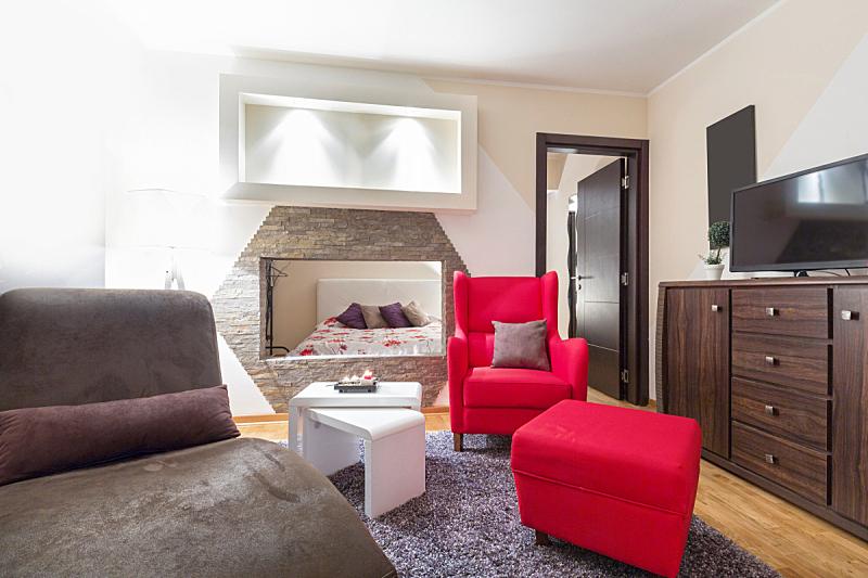 现代,室内,酒店,起居室,公寓,美,褐色,水平画幅,无人,椅子