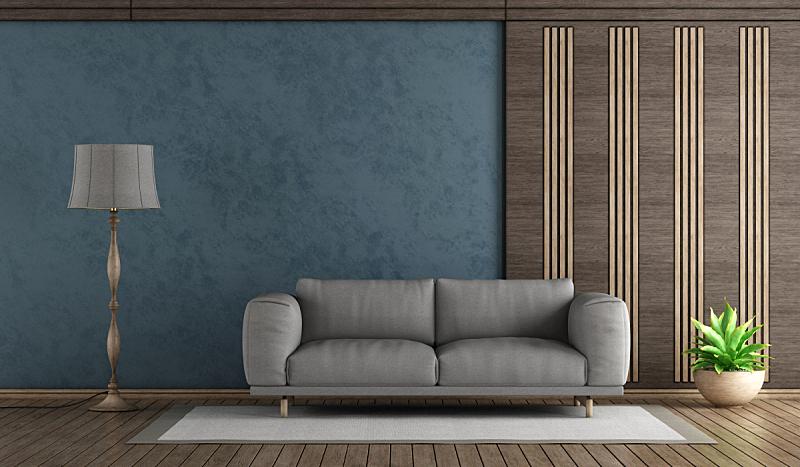 沙发,灰色,蓝色,起居室,高雅,水平画幅,无人,绘画插图,家庭生活,家具