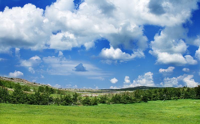 地形,天空,水平画幅,克里米亚,无人,夏天,户外,草,云景,白色
