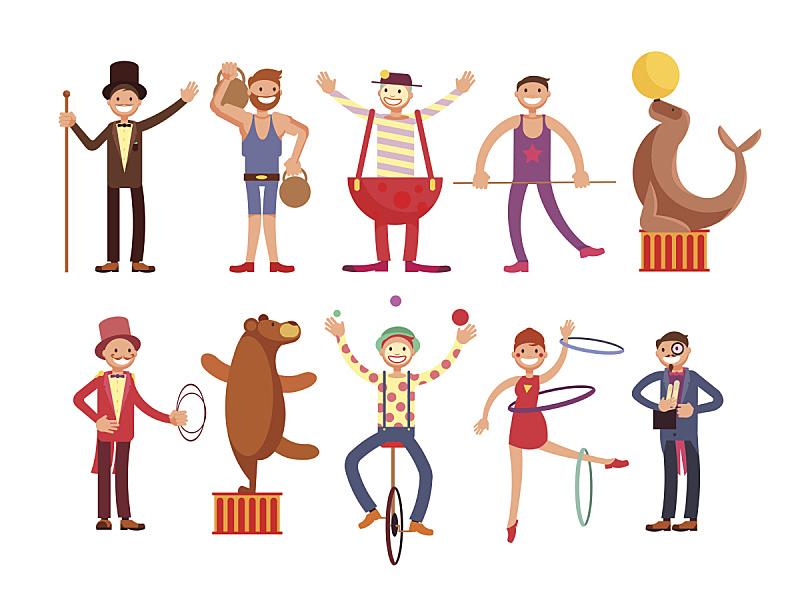 马戏团,小丑,魔术师,杂技演员,艺术家,卡通,矢量,动物,大力士,布置